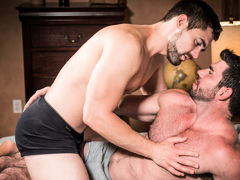 Muscular older gentleman Billy Santoro fucks gorgeous younger gentleman Griffin Barrows in a hot, clandestine fucking scene filled with kissing, rimming and foreplay culminating in double explosive cum shots and deep after-sex kissing. Wild and passionate mature gay