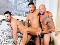 The Santoro's have acceded to bring in a number 3 for the evening and they do a text book 3 way. Sean is hyped to be the lucky man sucking, licking and fucking with  dual lovers. The Santoro's love to share with the right person and this hot encounte mature gay