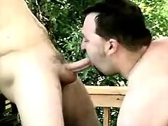 Chubby mature gay licks asshole and sucks cock