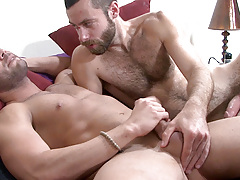 Scruffy heartthrob Seth seeds Marcos Mateo in this scene.  Marcos instigates by eagerly deep-throating Seth's thick shaft.   Seth then lubes up Marcos' hole with a deep tonguing before thrusting his uncovered cock deep inside.   The look on Marcos' face i mature gay