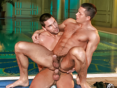 Aficionado bodyguard Julian joins Glen in the jacuzzi for some fun mature gay