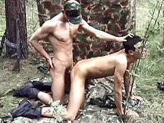 Hot army studs having some intense blowjob and anal action