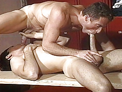 Scott slides his huge cock up Dean's ass pumping him hard ! mature gay