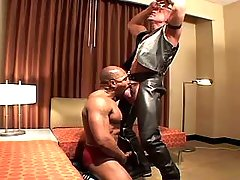 Black slave serves lusty mature gay