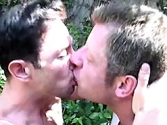 Boys try gay love and cum in a shed