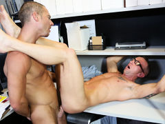 Matt's the last one in the office although everyone else has left for the holiday weekend and he's trying to finish his work as fast as he can. Matt's boyfriend Jordan has surprisingly showed up at work to bring him some coffee and a little neck massage.  mature gay