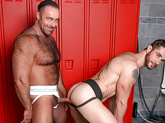 Dean & Brad pull their weenies from their jocks at the lockers mature gay