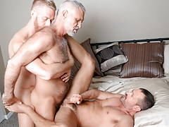 3 men from different decades hook up in a tasty three way mature gay