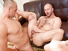 Cock-hungry hairy bully David slobbers over Enzo's veiny rod mature gay