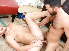 Rich's aching schlong obtains some of Lucas' tight hairy apple bottoms mature gay