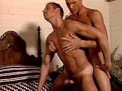 Beefy stud gets hammered and jizzed mature gay