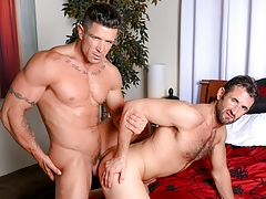 Trenton twists CJ over the bed & opens his begging wazoo up mature gay