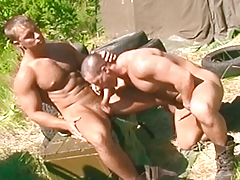 One pervy soldier watches his 2 buds fuck in duration binoculars