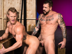 Tattooed muscle boy Rocco Steele locks lips with ginger-blond hunk Johnny V. Johnny touches Rocco's massive cock, then sinks to his knees to perform oral worship. Few chaps could manage Rocco's heavy girth and length, but Johnny shows off just how good h mature gay