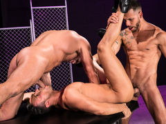 Naked except for their ebony leather boots, three horny men indulge their primal urges. Hairy bodybuilder Bruce Beckham and tatted FX Rjos stand over smooth Josh Conners, who is crouching with his spread waste cheeks in the air. Bruce and FX take turns ri mature gay
