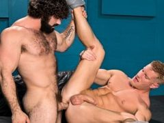 Johnny V is a blond musclebound bottom hunk who can't wait to get fucked. Jaxton Wheeler is a hairy mountain of a man with a thick cock that make mature gay