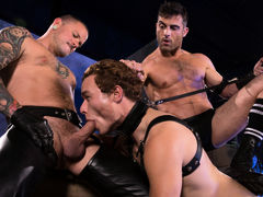 Puppy handler Lance Hart leads Mickey Mackenzie around on a black leather leash. With a tail plugging his hole and a mask over his face, Mickey surrenders his humanity and dives headlong into his submissive pup mind. As Mickey sniffs around the room, this mature gay