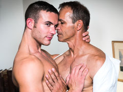 Killian James is Rodney Steele's assistant, he is reminding him about all the tasks that need to be completed. Rodney complains to Killian that he is close to a burn out, he immediately takes advantage of his hot boss's breakdown and massages his tense ne mature gay